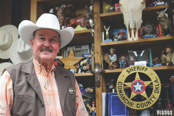 Surrounded by shelves stacked with gifts, gadgets and trinkets and walls lined with art and photographs, Co- manche County Sheriff Kenny Stradley said he's honored that people in the community think of him when they decide to bring him a little piece of themselves.