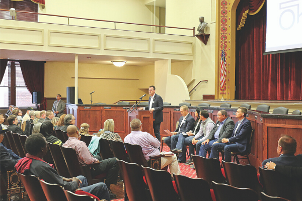 Oklahoma Governor Kevin Stitt speaks in a town hall style meeting about progress made by state agencies during the Lawton stop of the Top 10 Cabinet Tour.
