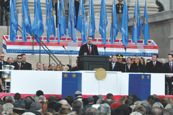 Governor Kevin Stitt delivering a speech shortly after he was sworn in last January as Oklahoma's 28th Governor.