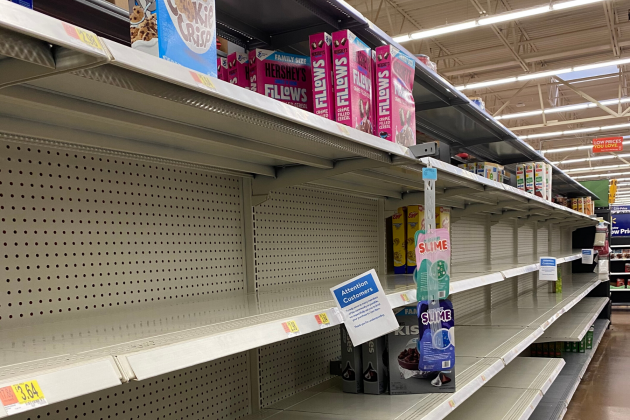 Ledger photos by JJ Francais                             Shelves of an area Walmart remain empty despite new store hours to accommodate cleaning and stocking.