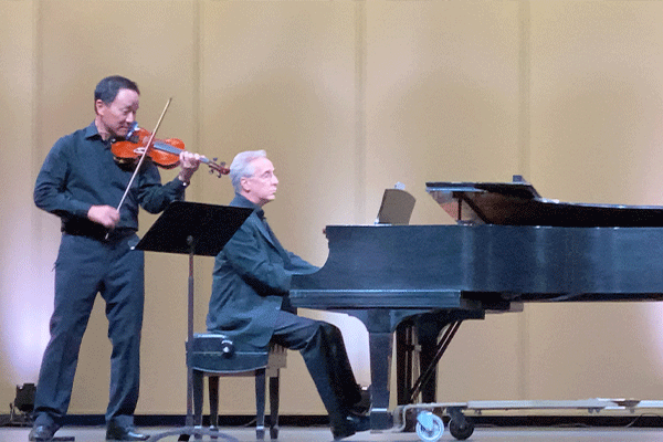 Violinist David Kim and Maestro Jon Kalbfleisch perform Vivaldi's Four Seasons at the McMahon Auditorium. The virtual concert will be broadcast in its entirety Saturday evening on local stations, with a rebroadcast on KSWO Channel 7 Sunday evening. Ledger photo by Curtis Awbrey