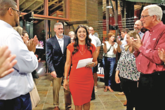 Stephanie Bice arrives to applause at an Oklahoma City watch party after winning the Republican 5th Congressional District runoff election in August.